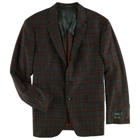 Tasso Elba Mens Plaid Two Button Blazer Jacket, red, 44 Regular - 44 Regular