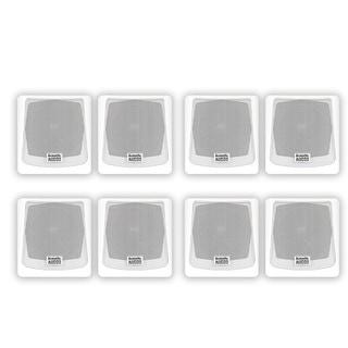 Acoustic Audio AA051W Mountable Indoor or Outdoor Speakers White Bookshelf 4 Pair Pack AA051W-4PR