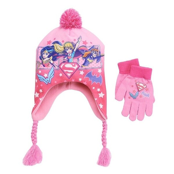 Berkshire Fashions DC Super Hero Girls Peruvian Hat Gloves Set Pink One Size - One Size Fits most