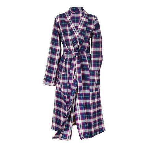 Metropolitan Womens Plaid Flannel Robe - Lightweight Shawl Collar Bath