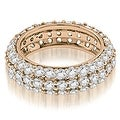 2.50 cttw. 14K Rose Gold Elegant Three Row Round Diamond Eternity Band Ring - Thumbnail 0