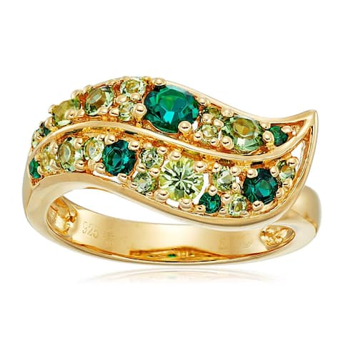 Crystaluxe Mixed Green Leaf Ring with Swarovski Crystals in 14K Gold-Plated Sterling Silver
