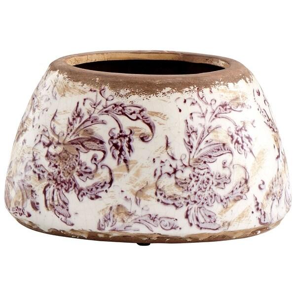"Cyan Design 09074 English Garden 8"" Diameter Terracotta Planter - White Crackle"