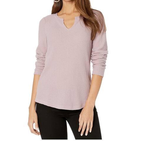 Sanctuary Womens Top Purple Size Medium M Waffle Split-Neck Long Sleeve