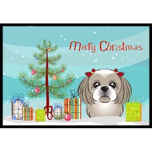 Carolines Treasures BB1622JMAT Christmas Tree & Gray Silver Shih Tzu Indoor or Outdoor Mat 24 x 36