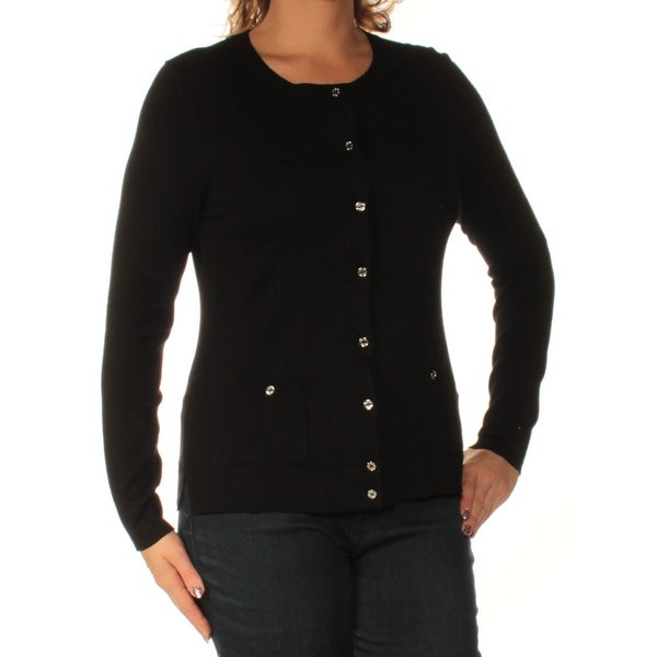 Shop Womens Black Long Sleeve Button Up Sweater Size L On Sale