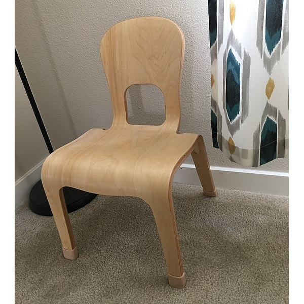 """2xhome - Natural Wood - Kids Size Wooden Modern Side Chair 10"""" Seat Height Real Wooden Childs Childrens Room Armless"""