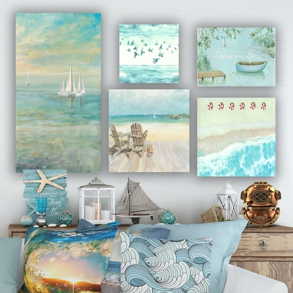 Designart 'Coastal and Beach Collection' Coastal Wall Art set of 5 pieces - Blue