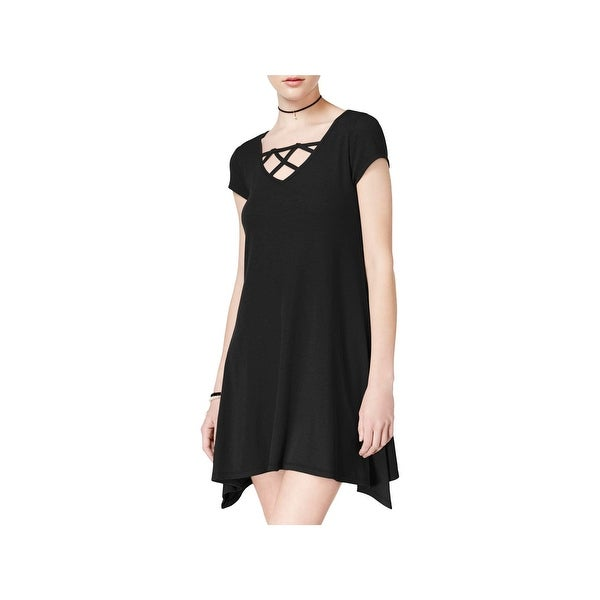 a38198449 Shop Almost Famous Womens Juniors T-Shirt Dress Ribbed Knit Criss-Cross  Front - M - Free Shipping On Orders Over $45 - Overstock - 21729751