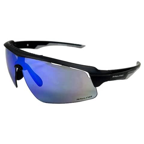 Rawlings FMR Mens Adult Sport Sunglasses Black Frame & Black/Blue Mirror Lenses - One size