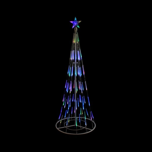 6' White Double Tier Bubble Cone Christmas Tree Lighted Yard Art Decoration - Multi Lights