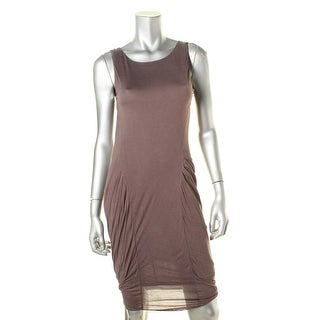 Heather Womens Bodycon Dress Faux Leather Trim Cowl Back