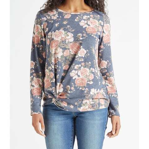 AGB Womens Large Twist-Knot Floral-Print Knit Top