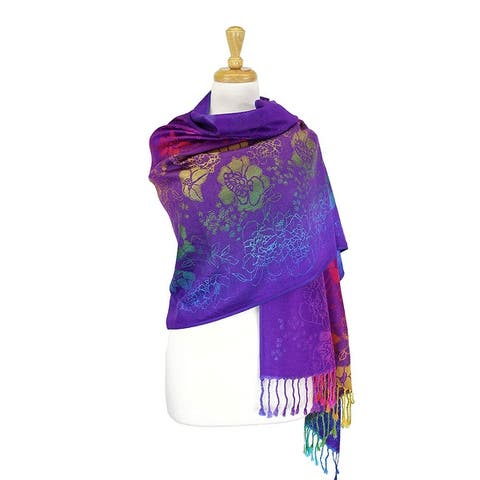 "Pashmina Wrap Shawl Scarf Double Side Rainbow Exotic Tropical Colorful - 28""x70"" with fringes"