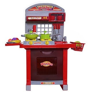 Ivation Kids Kitchen Center with Sink, Dish Rack, Stove with Light-Up Burners, Oven, Counters & Storage Areas