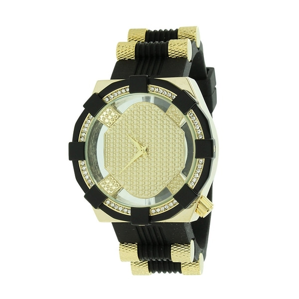 Mens Custom 2 Tone Watch Black / Gold Tone Lab Diamonds Bullet Designer Rubber Band