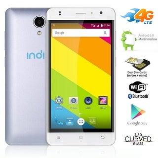 Indigi 4G Lte Smart Cell Phone Ultra-Slim 5.0in Screen Android 6.0 Google Play Store - White