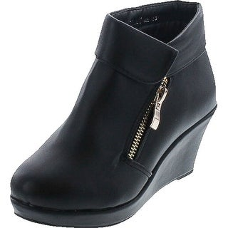 Link to Lucky Top Stella-6K Children Girl's Platform Wedge Heel Fold Over Ankle Booties Similar Items in Intimates
