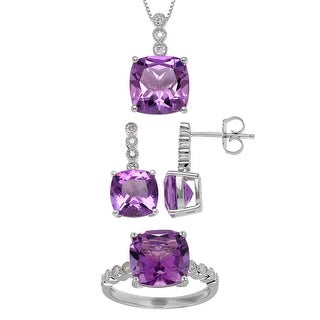 12 ct Natural Amethyst & 1/5 ct Diamond Earring, Pendant & Ring Set in Sterling Silver - Size 8 - Purple