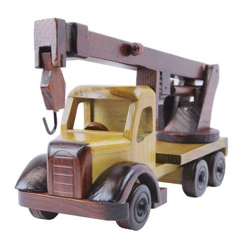 """Tow Truck Wood Model Car - 10""""l x 4""""w x 6""""h"""