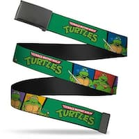 Blank Black  Buckle Classic Tmnt Group Pose3 Tmnt Logo Green Multi Web Belt