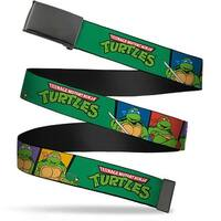 Blank Black  Buckle Classic Tmnt Group Pose3 Tmnt Logo Green Multi Web Belt
