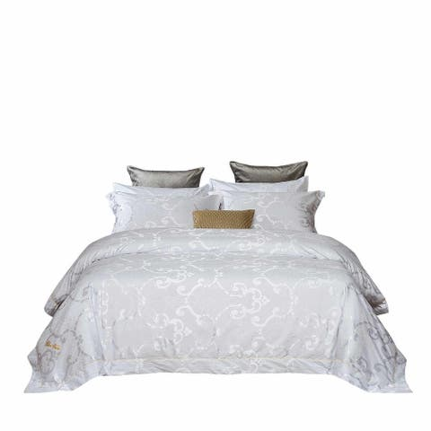 6 Pieces White Luxury Jacquard Duvet Cover Set by Dolce-Mela Bedding