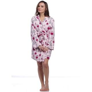 PJ Couture Women's Dashing Through The Snow Wine Kimono Robe
