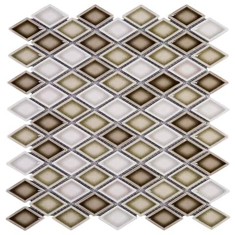 """TileGen. Diamond 1.5"""" x 1.5"""" Porcelain Mosaic Tile in Beige/White Floor and Wall Tile (10 sheets/9.6sqft.)"""