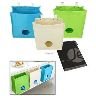 JAVOedge (3 PACK) Plastic Bag Holder and Dispenser Builtin Hanging Over Cabinet Door Hooks, Garbage or Dog Bag Organizer
