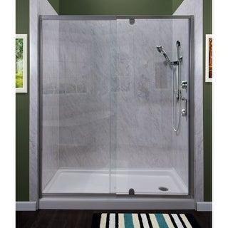 "Miseno MSDC5469 Purify 69"" High x 54"" Wide Semi-Framed Pivot Shower Door with Cl"