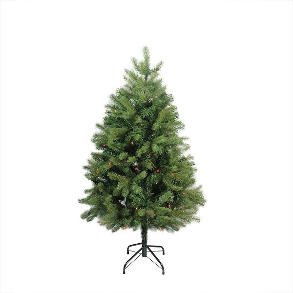 4' Pre-Lit Noble Fir Full Artificial Christmas Tree - Multi-Color Lights - green