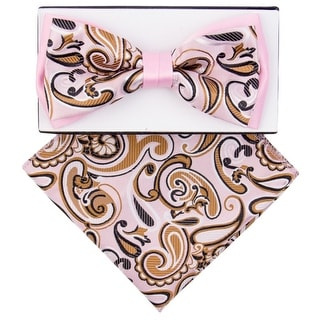 Men's Pink, Brown Paisley Pre-tied Adjustable Two-Tone Bow tie Handkerchief Set - One size