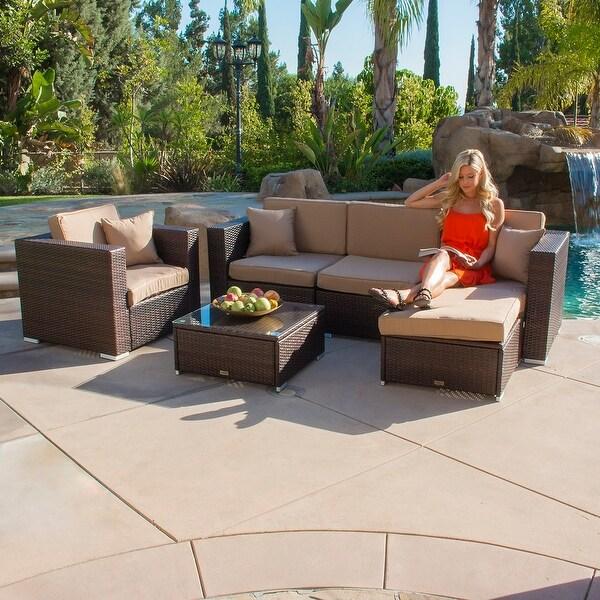 Belleze 6pc Aluminum Patio Sofa Pe Rattan Couch 2 Set Cushion Covers Furniture Brown