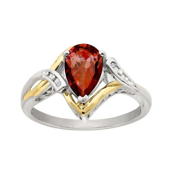 1 1/2 ct Garnet Ring with Diamond Accents in Sterling Silver and 10K Gold - Red