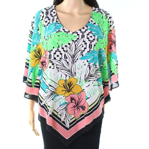Ruby Rd. Black Womens Size Small S Chiffon-Overlay Printed Blouse