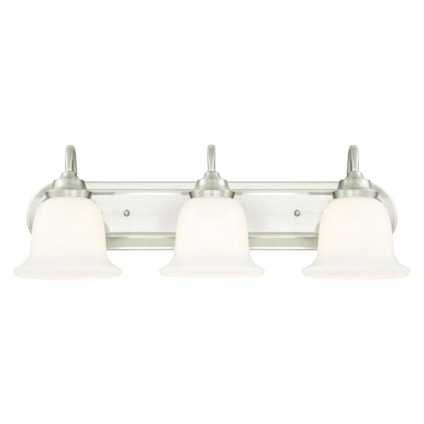 """Westinghouse 6301500 Harwell 25"""" Wide 3 Light Bathroom Vanity Light with Glass Shades"""