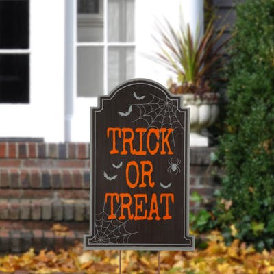 Glitzhome Halloween Wooden Yard Stake or Standing Decor or Hanging Decor