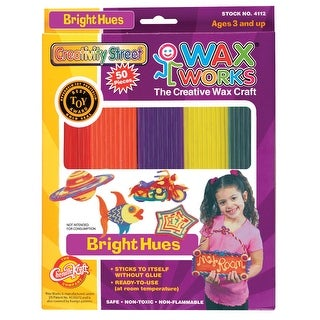 Creativity Street Wax Works Non-Toxic Non-Flammable Reusable Wax Craft Stem, 10 in, Assorted Bright Color, Pack of 50