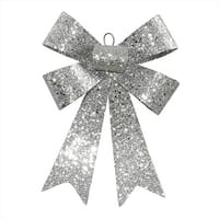 NorthLight 7 in. Silver Sequin And Glitter Bow Christmas Ornament