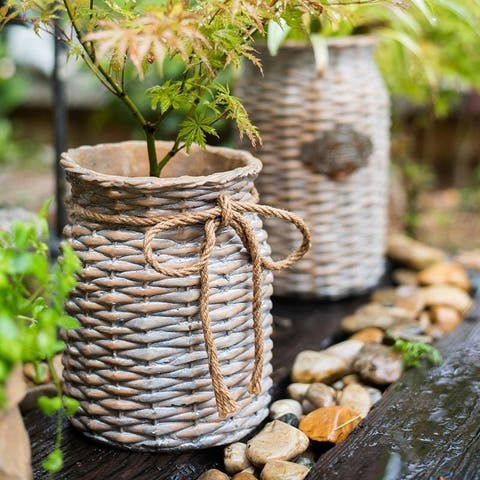 RusticReach Willow Style Ribbon Concrete Flower Pot