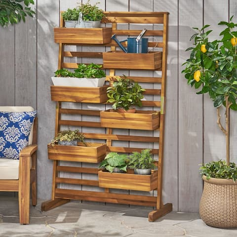 Thiago Outdoor Acacia Wood Outdoor Customizable Plant Stand by Christopher Knight Home
