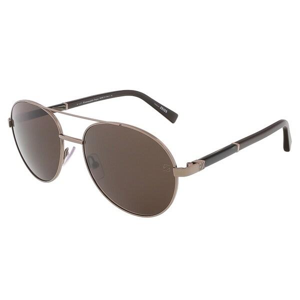Ermenegildo Zegna EZ0013/S 34J Shiny Light Bronze/Brown Aviator sunglasses - shiny light bronze/brown