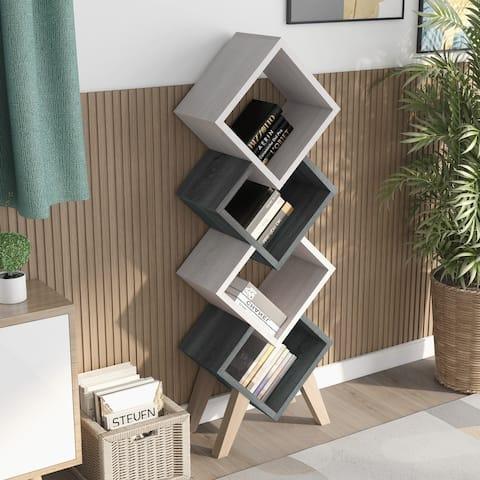Furniture of America Diamonte Mid-century Modern 4-shelf Bookcase