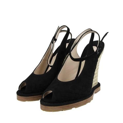 Bottega Veneta Women's Black Suede Woven Intrecciato Straw Wedge Slingbacks 465179 1000