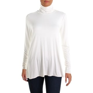 Three Dots Womens Turtleneck Top Jersey Stretch