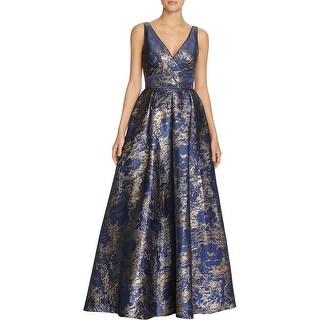 Carmen Marc Valvo Womens Evening Dress Metallic Pleated