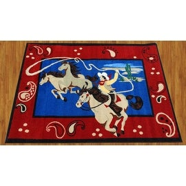 "Cowboy California Kids Children Rug Red Blue Beige Base Color Kids Rug Children's (39""X58"" Inches)"