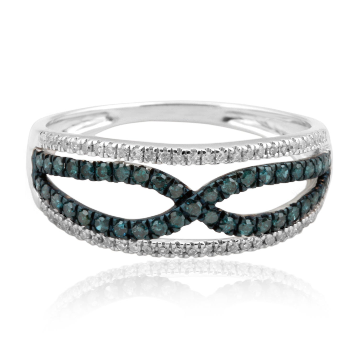 Fabuluos Round Brilliant Cut Blue Color Trated Diamond with Natural Diamond Fancy Ring - Thumbnail 0