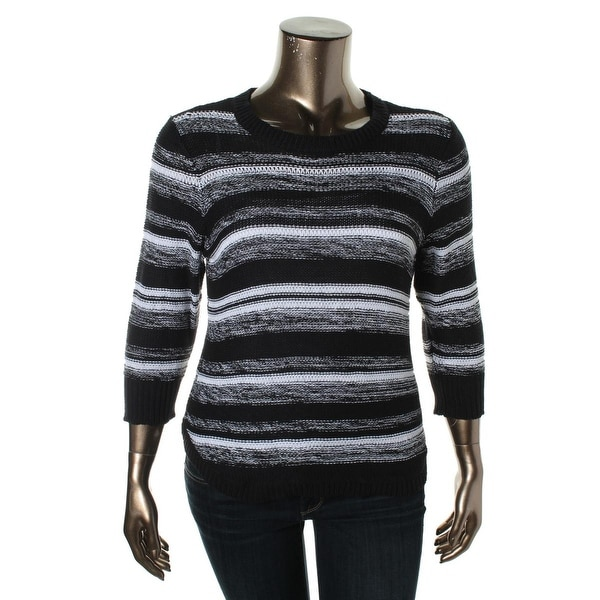 NY Collection Womens Pullover Sweater Striped 3/4 Sleeves